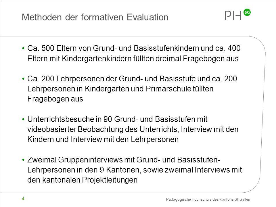 Pädagogische Hochschule des Kantons St.Gallen 4 Methoden der formativen Evaluation Ca. 500 Eltern von Grund- und Basisstufenkindern und ca. 400 Eltern