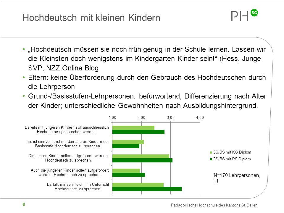 """Pädagogische Hochschule des Kantons St.Gallen 6 Hochdeutsch mit kleinen Kindern """"Hochdeutsch müssen sie noch früh genug in der Schule lernen. Lassen w"""