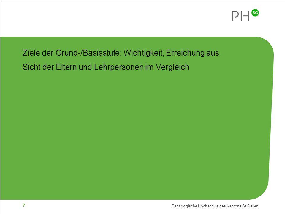 Pädagogische Hochschule des Kantons St.Gallen 7 Ziele der Grund-/Basisstufe: Wichtigkeit, Erreichung aus Sicht der Eltern und Lehrpersonen im Vergleich