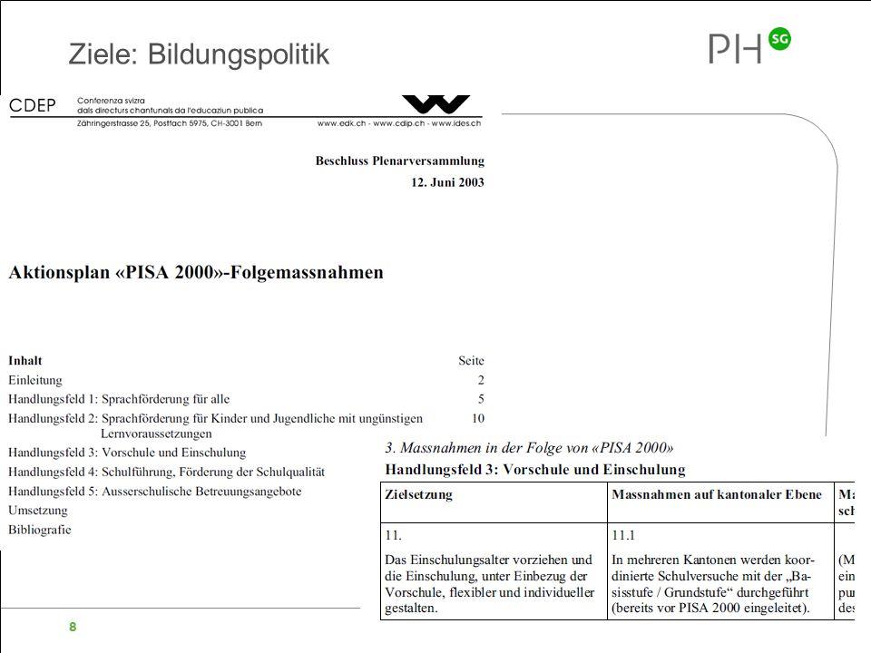 Pädagogische Hochschule des Kantons St.Gallen 8 Ziele: Bildungspolitik Beschluss der Basisstufe