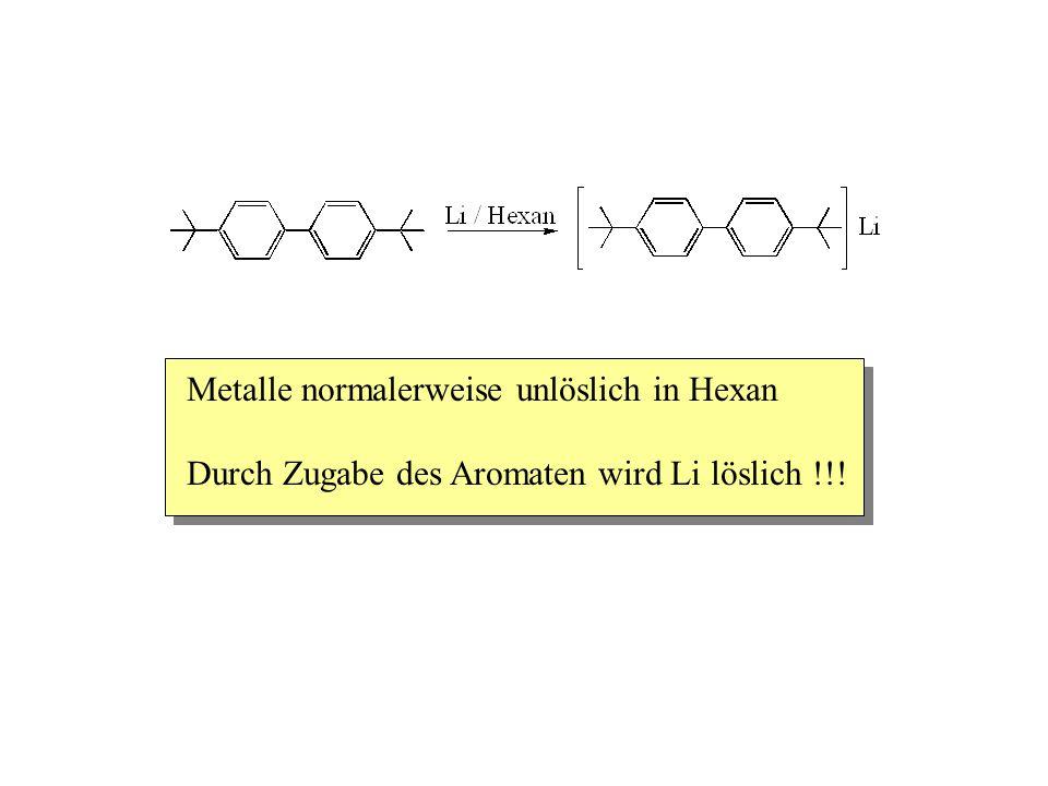Metalle normalerweise unlöslich in Hexan Durch Zugabe des Aromaten wird Li löslich !!!
