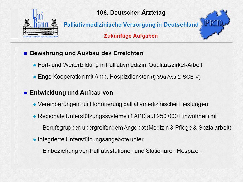 106. Deutscher Ärztetag Palliativmedizinische Versorgung in Deutschland Zukünftige Aufgaben Bewahrung und Ausbau des Erreichten ● Fort- und Weiterbild