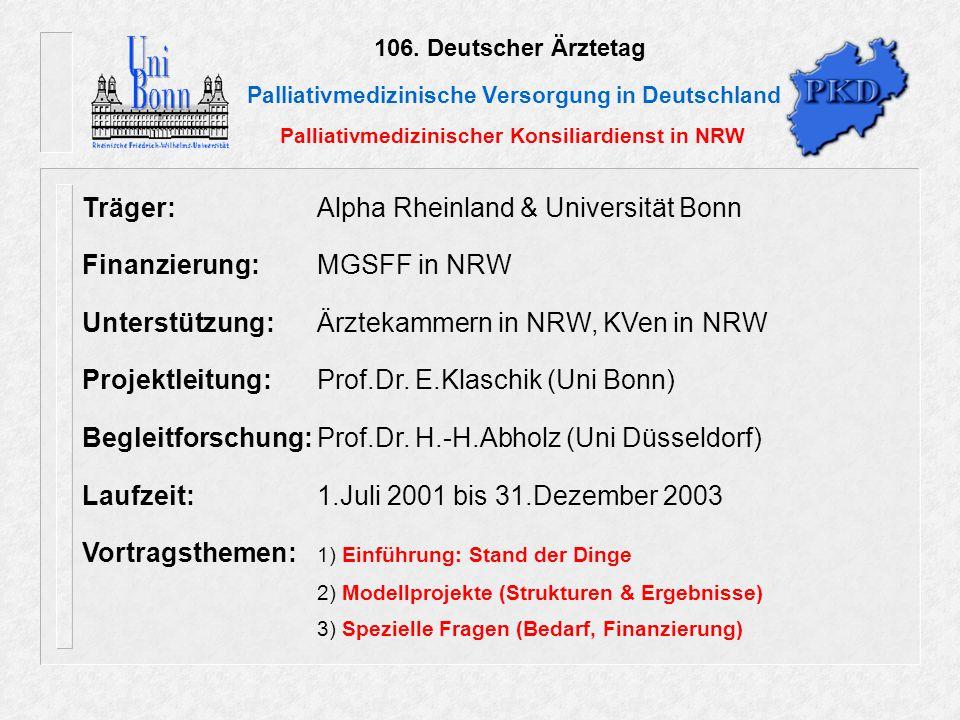 106. Deutscher Ärztetag Palliativmedizinische Versorgung in Deutschland Palliativmedizinischer Konsiliardienst in NRW Träger: Alpha Rheinland & Univer