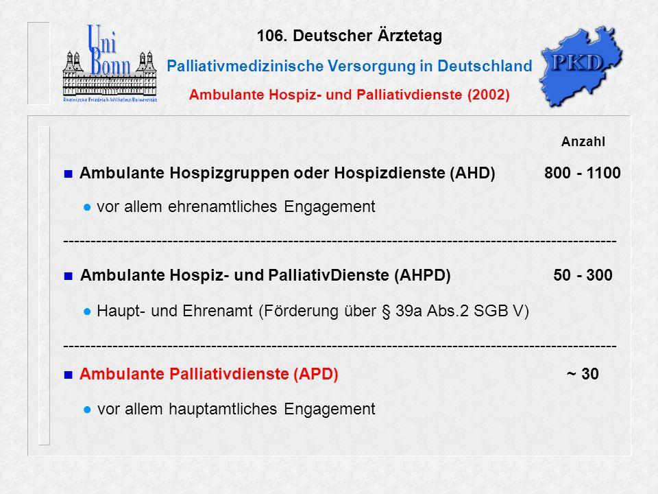 106. Deutscher Ärztetag Palliativmedizinische Versorgung in Deutschland Ambulante Hospiz- und Palliativdienste (2002) Anzahl Ambulante Hospizgruppen o
