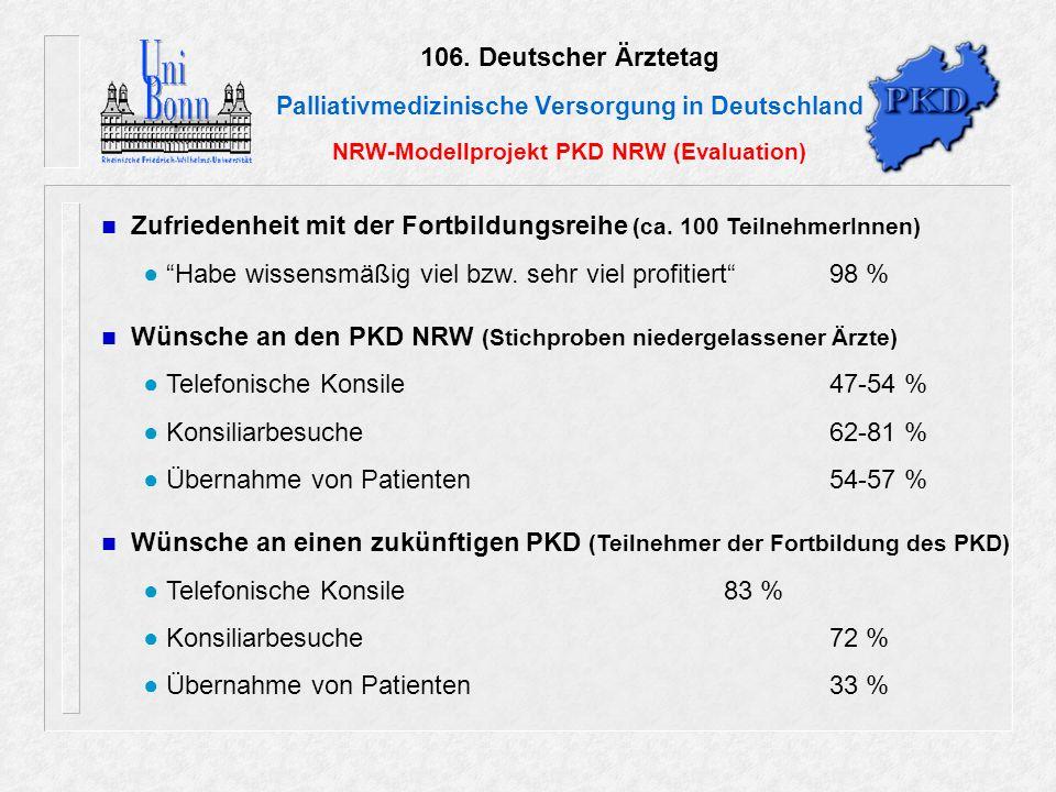106. Deutscher Ärztetag Palliativmedizinische Versorgung in Deutschland NRW-Modellprojekt PKD NRW (Evaluation) Zufriedenheit mit der Fortbildungsreihe