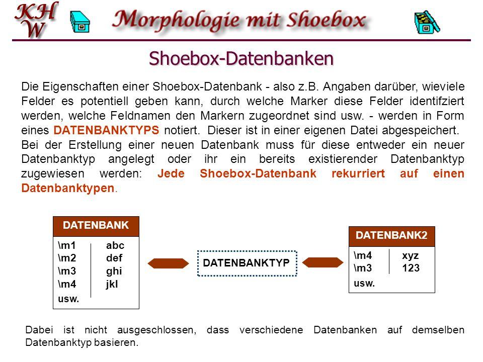 Shoebox-Datenbanken Die Eigenschaften einer Shoebox-Datenbank - also z.B.