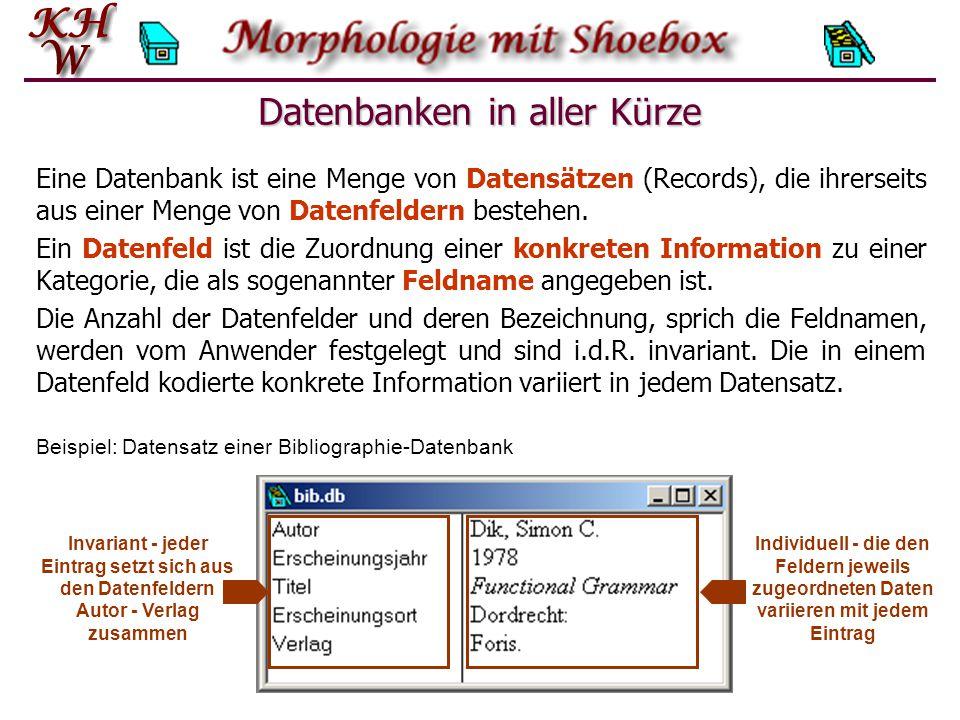 Shoebox-Datenbanken Jede Shoebox-Datenbank hat spezifische Eigenschaften.