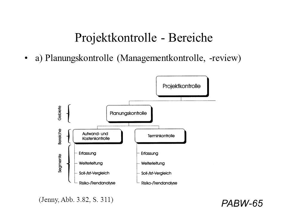 PABW-65 Projektkontrolle - Bereiche a) Planungskontrolle (Managementkontrolle, -review) (Jenny, Abb. 3.82, S. 311)