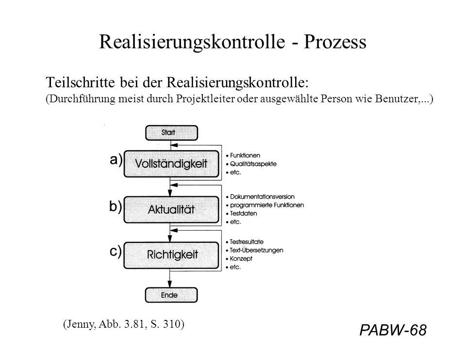 PABW-68 Realisierungskontrolle - Prozess Teilschritte bei der Realisierungskontrolle: (Durchführung meist durch Projektleiter oder ausgewählte Person