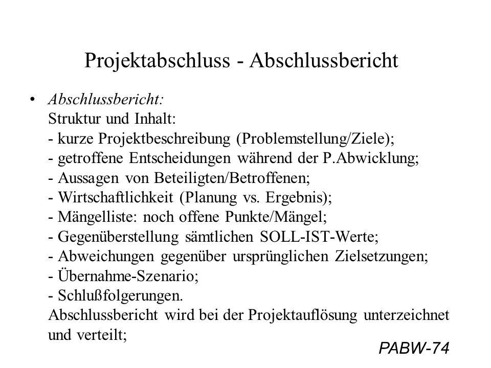 PABW-74 Projektabschluss - Abschlussbericht Abschlussbericht: Struktur und Inhalt: - kurze Projektbeschreibung (Problemstellung/Ziele); - getroffene E