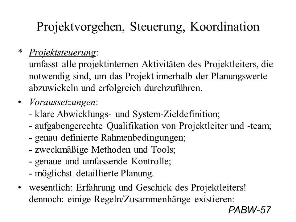 PABW-57 Projektvorgehen, Steuerung, Koordination *Projektsteuerung: umfasst alle projektinternen Aktivitäten des Projektleiters, die notwendig sind, u