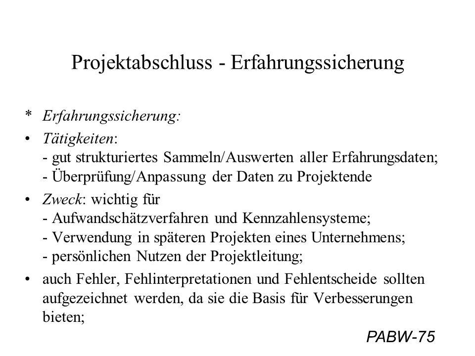PABW-75 Projektabschluss - Erfahrungssicherung *Erfahrungssicherung: Tätigkeiten: - gut strukturiertes Sammeln/Auswerten aller Erfahrungsdaten; - Über