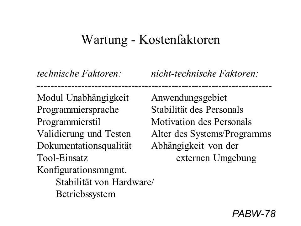 PABW-78 Wartung - Kostenfaktoren technische Faktoren: nicht-technische Faktoren: ---------------------------------------------------------------------