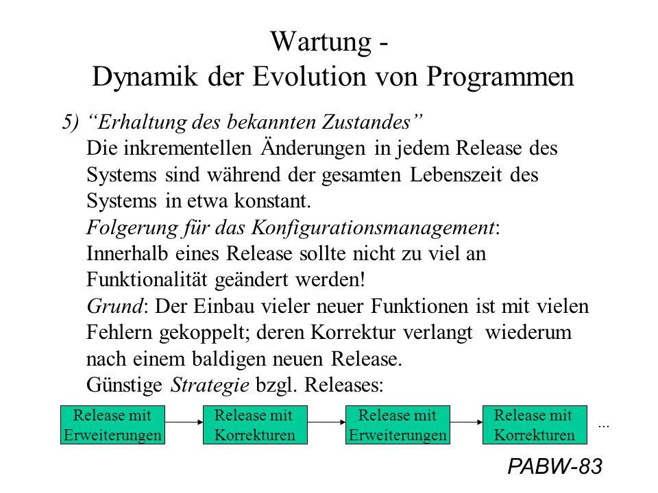 """PABW-83 Wartung - Dynamik der Evolution von Programmen 5) """"Erhaltung des bekannten Zustandes"""" Die inkrementellen Änderungen in jedem Release des Syste"""