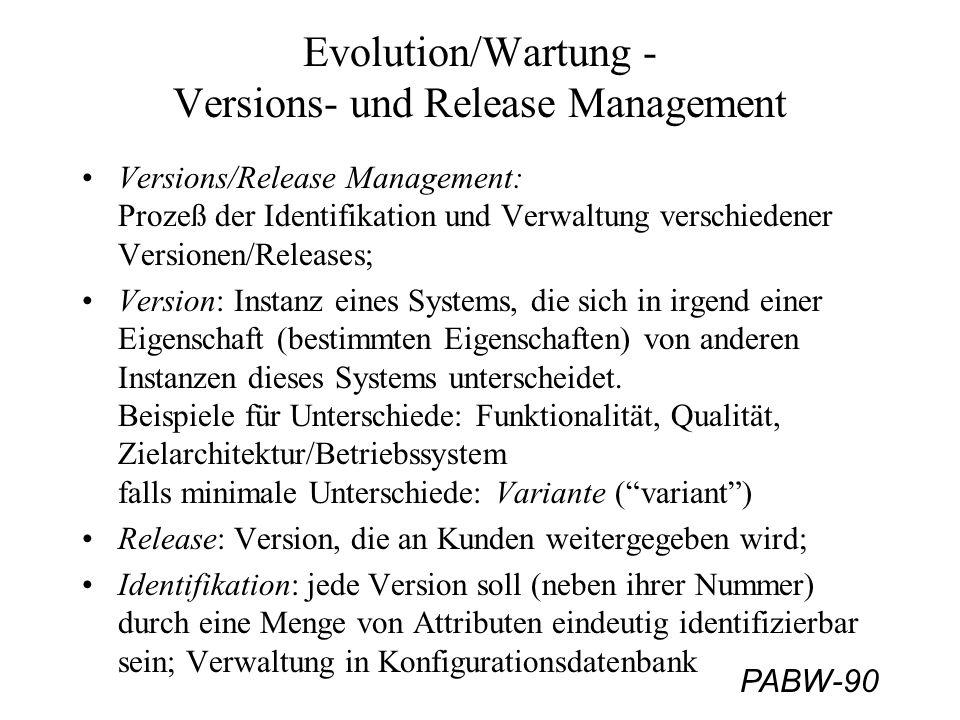 PABW-90 Evolution/Wartung - Versions- und Release Management Versions/Release Management: Prozeß der Identifikation und Verwaltung verschiedener Versi