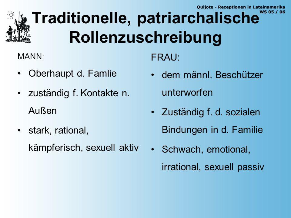 Traditionelle, patriarchalische Rollenzuschreibung MANN: Oberhaupt d.