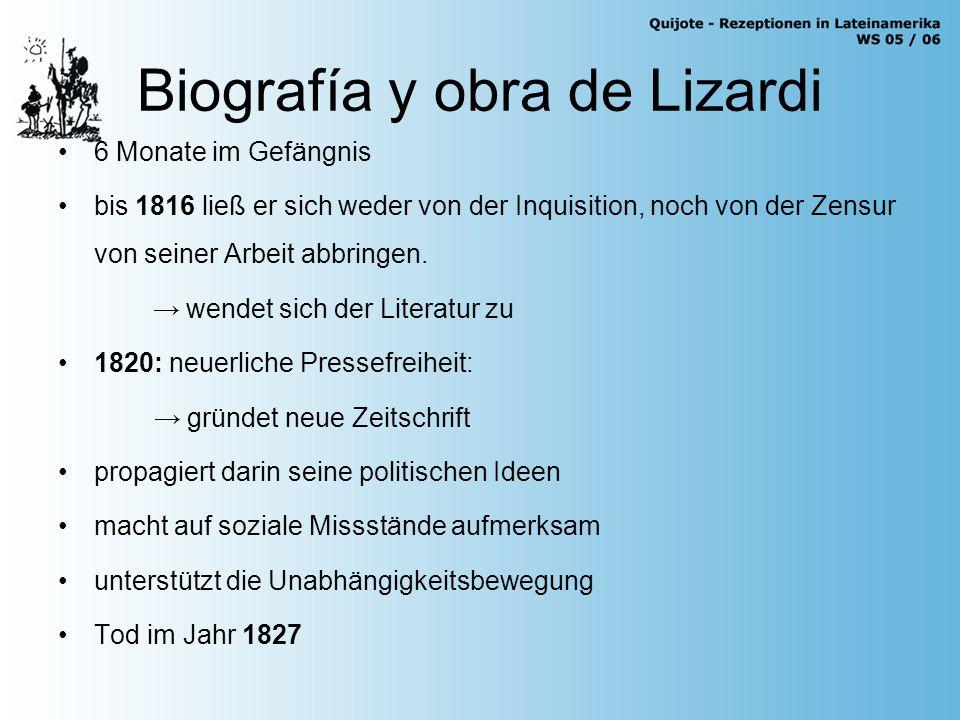 Biografía y obra de Lizardi El Periquillo Sarniento (1816) Noches tristes y día alegre (1819) La Quijotita y su prima (1.