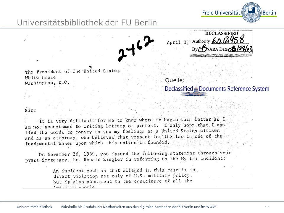 17 Universitätsbibliothek Faksimile bis Raubdruck: Kostbarkeiten aus den digitalen Beständen der FU Berlin und im WWW Universitätsbibliothek der FU Be