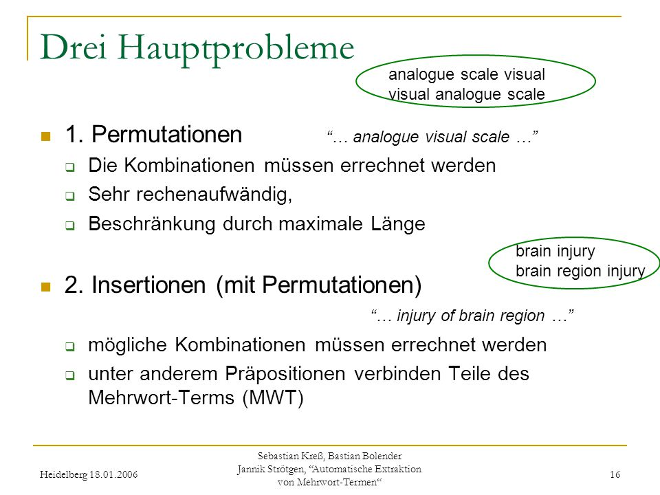 Heidelberg 18.01.2006 Sebastian Kreß, Bastian Bolender Jannik Strötgen, Automatische Extraktion von Mehrwort-Termen 16 Drei Hauptprobleme 1.