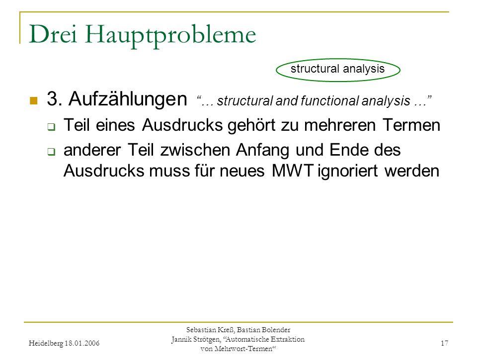 Heidelberg 18.01.2006 Sebastian Kreß, Bastian Bolender Jannik Strötgen, Automatische Extraktion von Mehrwort-Termen 17 Drei Hauptprobleme 3.