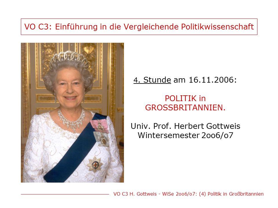 VO C3 H.Gottweis - WiSe 2oo6/o7: (4) Politik in Großbritannien Ziele des 3.