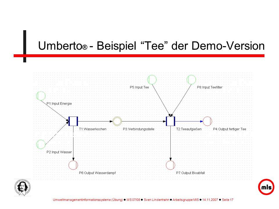 Umweltmanagementinformationssysteme (Übung) WS 07/08 Sven Lindenhahn Arbeitsgruppe MIS 14.11.2007 Seite 17 Umberto ® - Beispiel Tee der Demo-Version