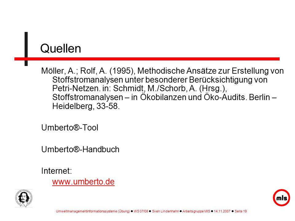Umweltmanagementinformationssysteme (Übung) WS 07/08 Sven Lindenhahn Arbeitsgruppe MIS 14.11.2007 Seite 19 Quellen Möller, A.; Rolf, A.