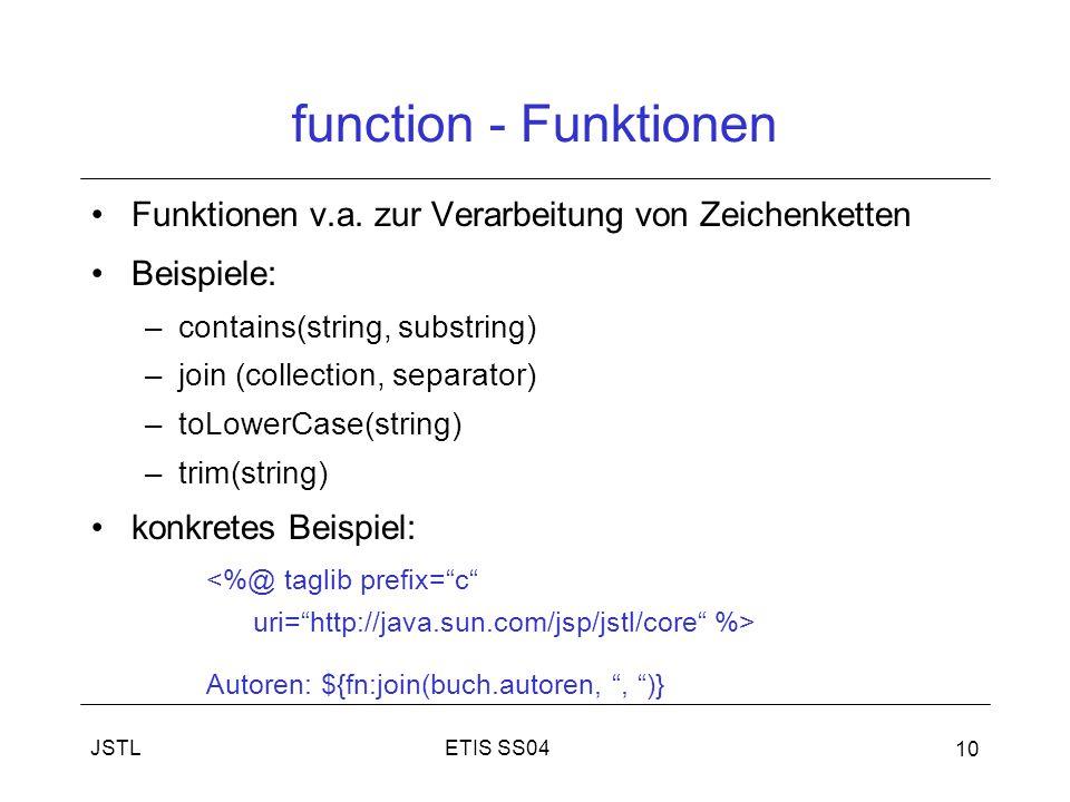 ETIS SS04JSTL 10 function - Funktionen Funktionen v.a.