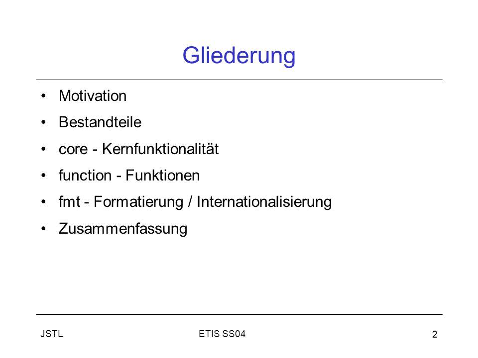 JSTL 2 Gliederung Motivation Bestandteile core - Kernfunktionalität function - Funktionen fmt - Formatierung / Internationalisierung Zusammenfassung