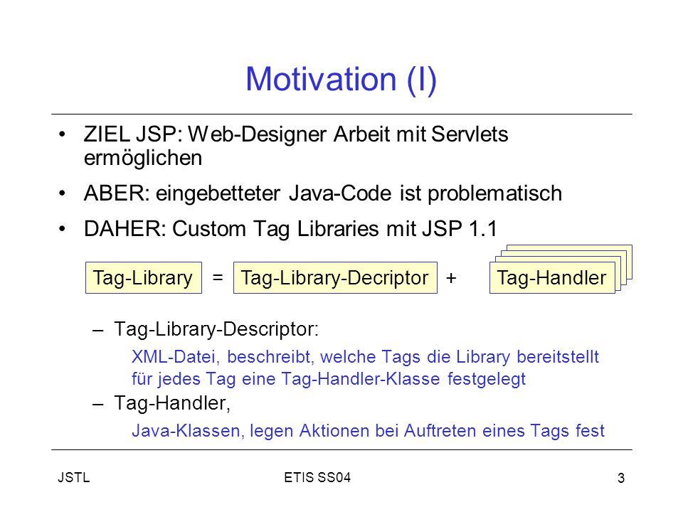 ETIS SS04JSTL 3 Motivation (I) ZIEL JSP: Web-Designer Arbeit mit Servlets ermöglichen ABER: eingebetteter Java-Code ist problematisch DAHER: Custom Tag Libraries mit JSP 1.1 –Tag-Library-Descriptor: XML-Datei, beschreibt, welche Tags die Library bereitstellt für jedes Tag eine Tag-Handler-Klasse festgelegt –Tag-Handler, Java-Klassen, legen Aktionen bei Auftreten eines Tags fest Tag-Library = Tag-Library-Decriptor + Tag-Handler