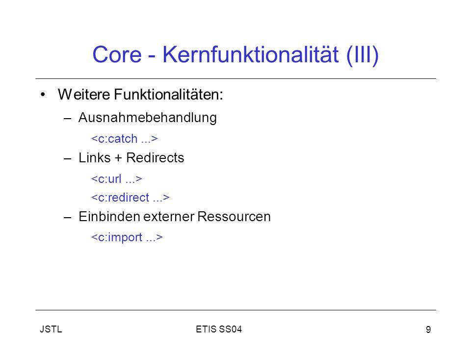 ETIS SS04JSTL 9 Core - Kernfunktionalität (III) Weitere Funktionalitäten: –Ausnahmebehandlung –Links + Redirects –Einbinden externer Ressourcen