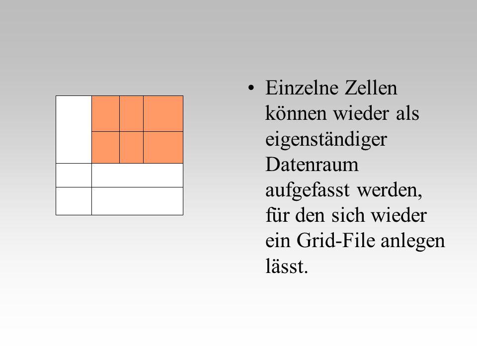 Einzelne Zellen können wieder als eigenständiger Datenraum aufgefasst werden, für den sich wieder ein Grid-File anlegen lässt.