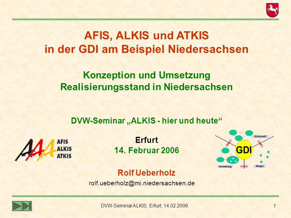 DVW-Seminar ALKIS, Erfurt, 14.02.2006 1 AFIS, ALKIS und ATKIS in der GDI am Beispiel Niedersachsen Konzeption und Umsetzung Realisierungsstand in Nied