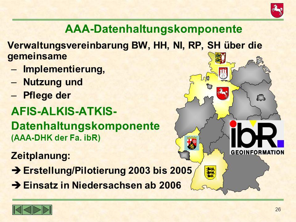 26 Verwaltungsvereinbarung BW, HH, NI, RP, SH über die gemeinsame – Implementierung, – Nutzung und – Pflege der AFIS-ALKIS-ATKIS- Datenhaltungskompone