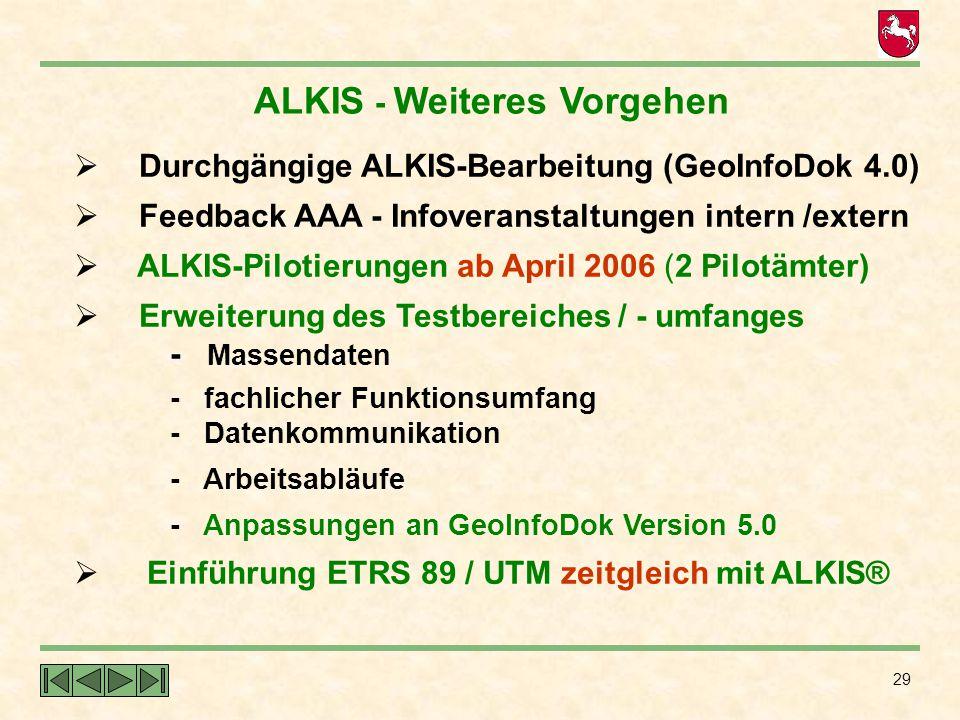 29 ALKIS - Weiteres Vorgehen  Durchgängige ALKIS-Bearbeitung (GeoInfoDok 4.0)  Feedback AAA - Infoveranstaltungen intern /extern  ALKIS-Pilotierung