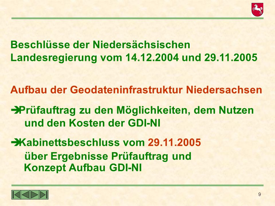 9 Beschlüsse der Niedersächsischen Landesregierung vom 14.12.2004 und 29.11.2005 Aufbau der Geodateninfrastruktur Niedersachsen  Prüfauftrag zu den M