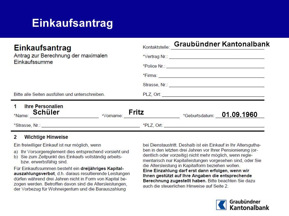 Einkaufsantrag Graubündner Kantonalbank SchülerFritz 01.09.1960