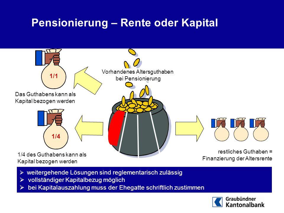  weitergehende Lösungen sind reglementarisch zulässig  vollständiger Kapitalbezug möglich  bei Kapitalauszahlung muss der Ehegatte schriftlich zust