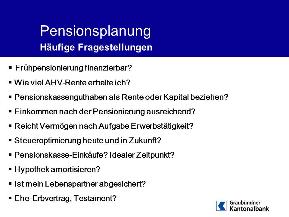 Pensionsplanung Häufige Fragestellungen  Frühpensionierung finanzierbar?  Wie viel AHV-Rente erhalte ich?  Pensionskassenguthaben als Rente oder Ka