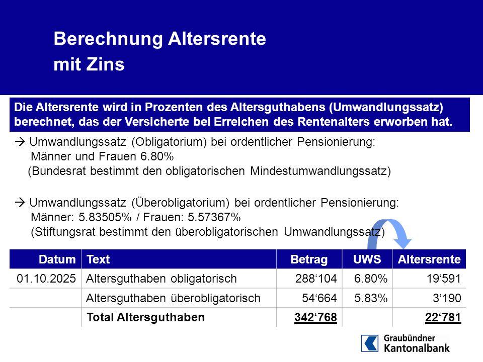 Berechnung Altersrente mit Zins DatumTextBetragUWSAltersrente 01.10.2025Altersguthaben obligatorisch288'1046.80%19'591 Altersguthaben überobligatorisc