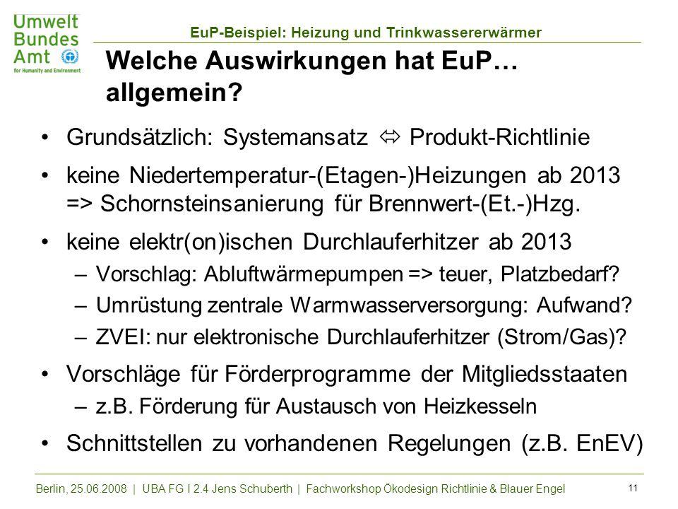 EuP-Beispiel: Heizung und Trinkwassererwärmer Berlin, 25.06.2008 | UBA FG I 2.4 Jens Schuberth | Fachworkshop Ökodesign Richtlinie & Blauer Engel 11 W