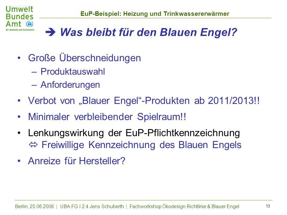 EuP-Beispiel: Heizung und Trinkwassererwärmer Berlin, 25.06.2008 | UBA FG I 2.4 Jens Schuberth | Fachworkshop Ökodesign Richtlinie & Blauer Engel 13 