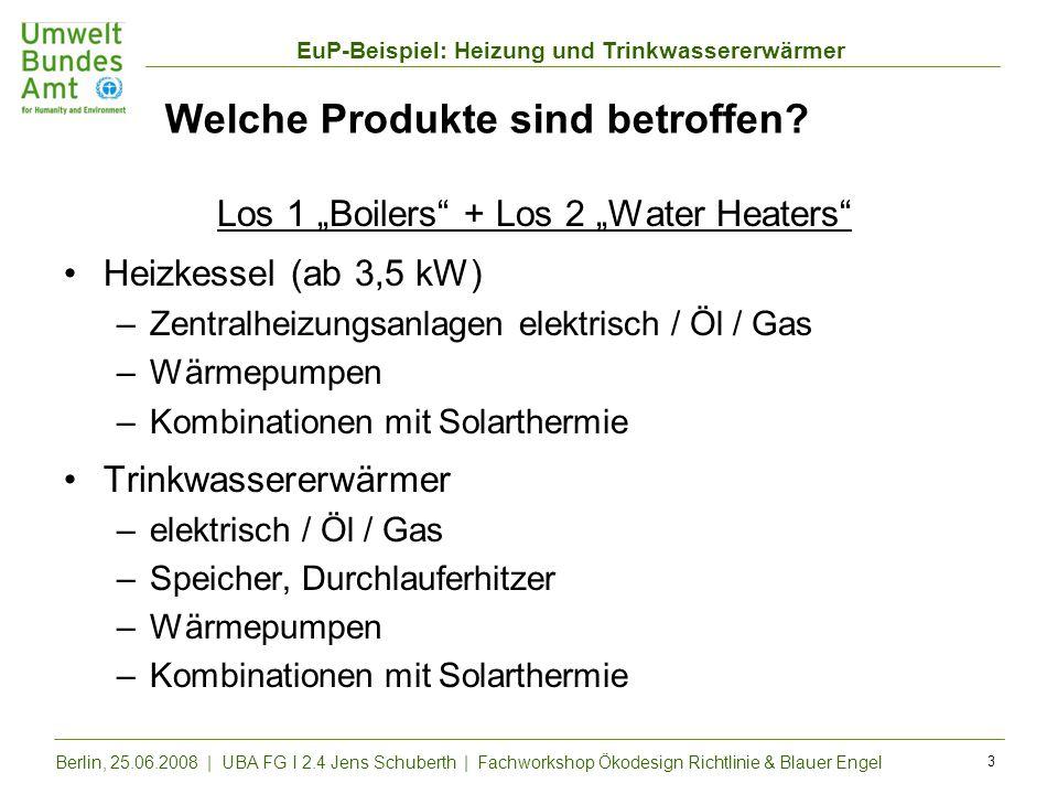 EuP-Beispiel: Heizung und Trinkwassererwärmer Berlin, 25.06.2008 | UBA FG I 2.4 Jens Schuberth | Fachworkshop Ökodesign Richtlinie & Blauer Engel 3 We