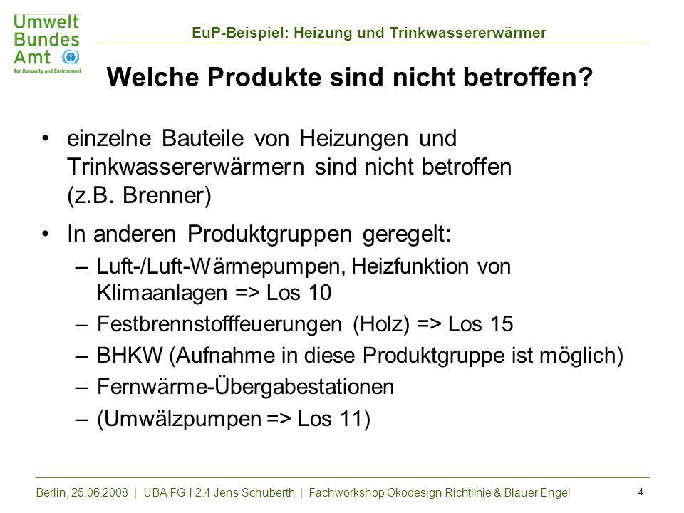 EuP-Beispiel: Heizung und Trinkwassererwärmer Berlin, 25.06.2008 | UBA FG I 2.4 Jens Schuberth | Fachworkshop Ökodesign Richtlinie & Blauer Engel 4 We