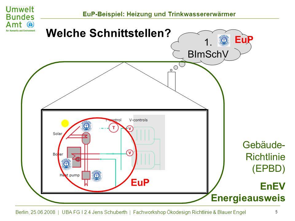 EuP-Beispiel: Heizung und Trinkwassererwärmer Berlin, 25.06.2008 | UBA FG I 2.4 Jens Schuberth | Fachworkshop Ökodesign Richtlinie & Blauer Engel 5 We