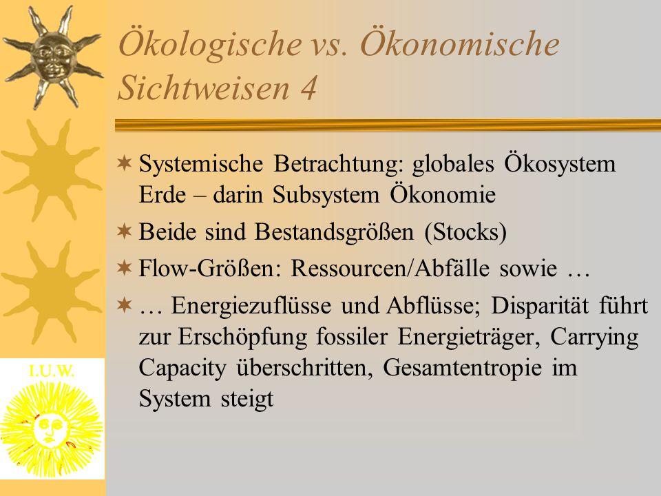 Ökologische vs. Ökonomische Sichtweisen 4  Systemische Betrachtung: globales Ökosystem Erde – darin Subsystem Ökonomie  Beide sind Bestandsgrößen (S