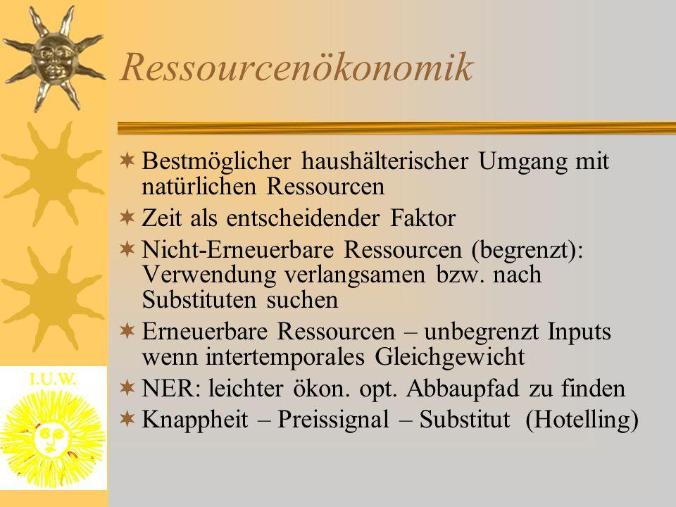 Ressourcenökonomik  Bestmöglicher haushälterischer Umgang mit natürlichen Ressourcen  Zeit als entscheidender Faktor  Nicht-Erneuerbare Ressourcen (begrenzt): Verwendung verlangsamen bzw.