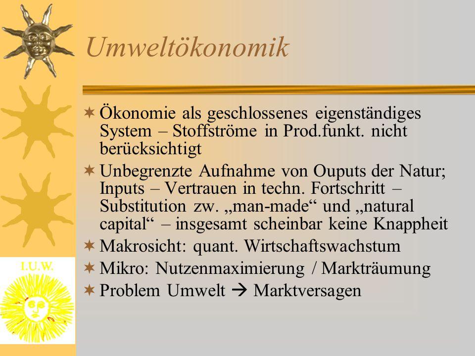 Umweltökonomik  Ökonomie als geschlossenes eigenständiges System – Stoffströme in Prod.funkt. nicht berücksichtigt  Unbegrenzte Aufnahme von Ouputs