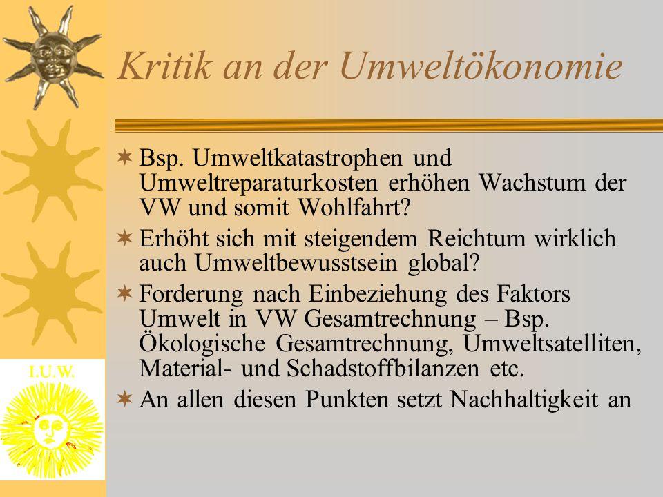 Kritik an der Umweltökonomie  Bsp.