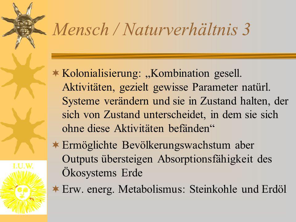 Mensch / Naturverhältnis 4  Koevolution von natürlichen und sozialen Systemen  Gesellschaftlicher Metabolismus stark verändert  Probleme auf Input- und Outputseite  Kolonialisierung heißt: Gesellschaft gestaltet absichtsvoll die umgebende Natur, greift in ablaufende Naturprozesse ein und löst damit langfristig wirksame Veränderungen aus  Problem :oftmals unvorhergesehen!